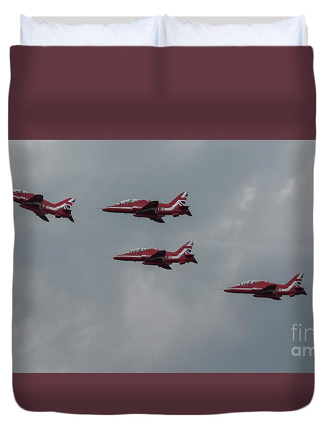 Red Duvet Cover featuring the photograph 4 Red Arrows by Philip Pound