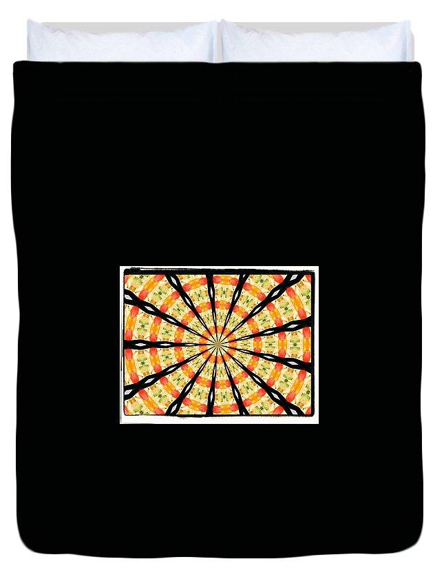 Orange Yellow Black Duvet Cover featuring the digital art 5 by John Holfinger