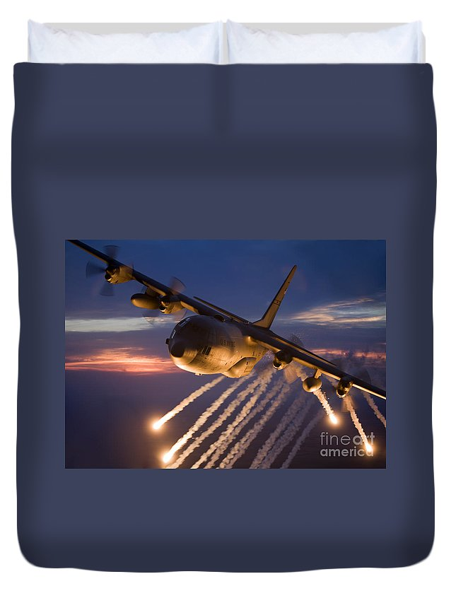 Smoke Duvet Cover featuring the photograph A C-130 Hercules Releases Flares by HIGH-G Productions