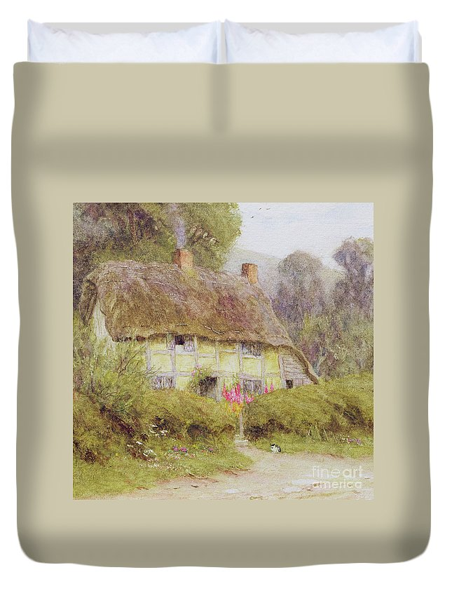 Quaint Duvet Cover featuring the painting A Country Cottage by Helen Allingham