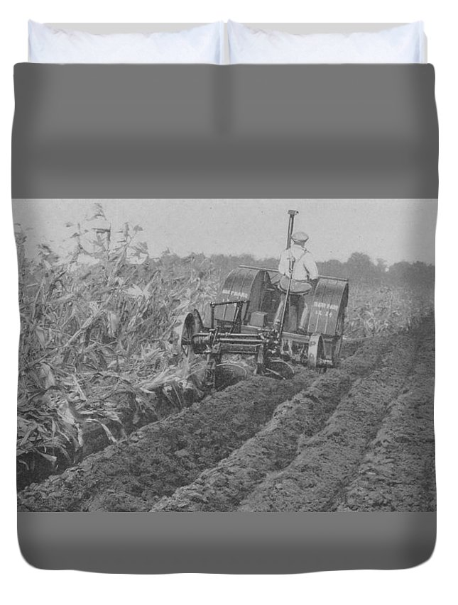 Farm Duvet Cover featuring the photograph A Farmer Driving A Tractor by American School