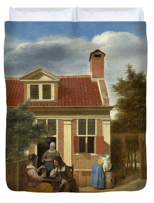 Backyard Duvet Cover featuring the painting A Group At The Site Behind A House by Pieter de Hooch