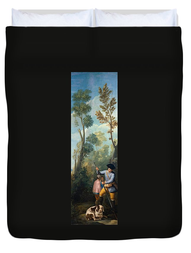 Animal Duvet Cover featuring the painting A Hunter Loading His Shotgun by Francisco Goya