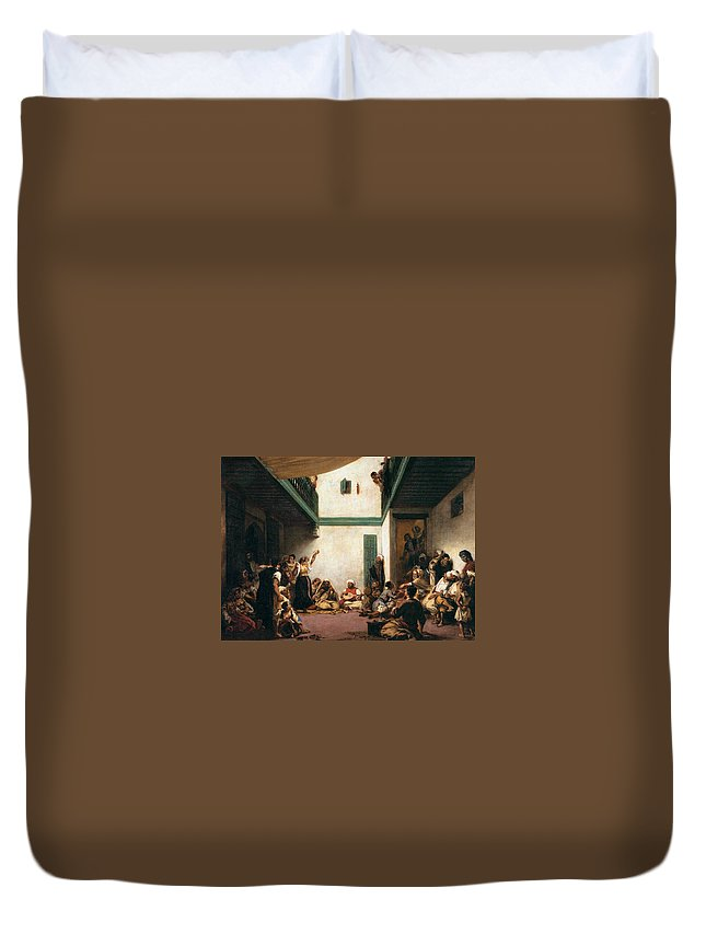 Arts Duvet Cover featuring the painting A Jewish Wedding In Morocco by Eugene Delacroix