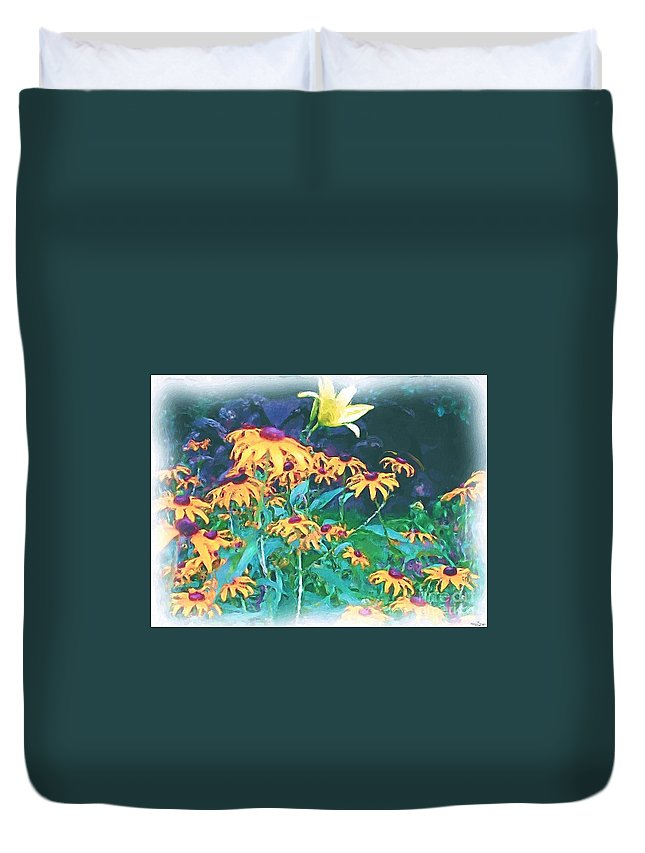 Mixed Media Duvet Cover featuring the painting A Lily In The Field by Patricia Griffin Brett