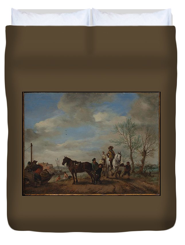 Philips Wouwerman A Man And A Woman On Horseback Duvet Cover featuring the painting A Man And A Woman On Horseback by Philips Wouwerman