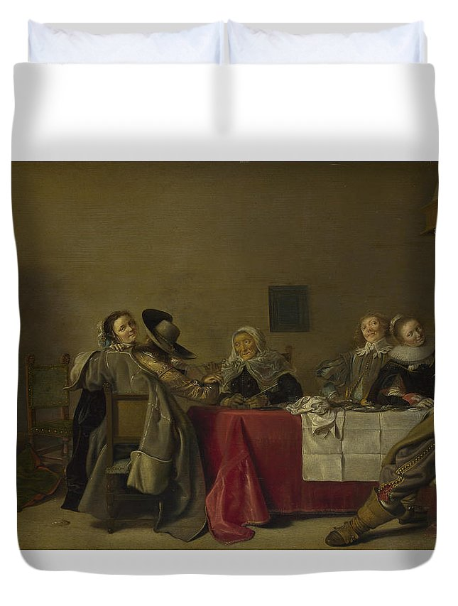 Antique Duvet Cover featuring the painting A Merry Company At Table by Hendrick Pot