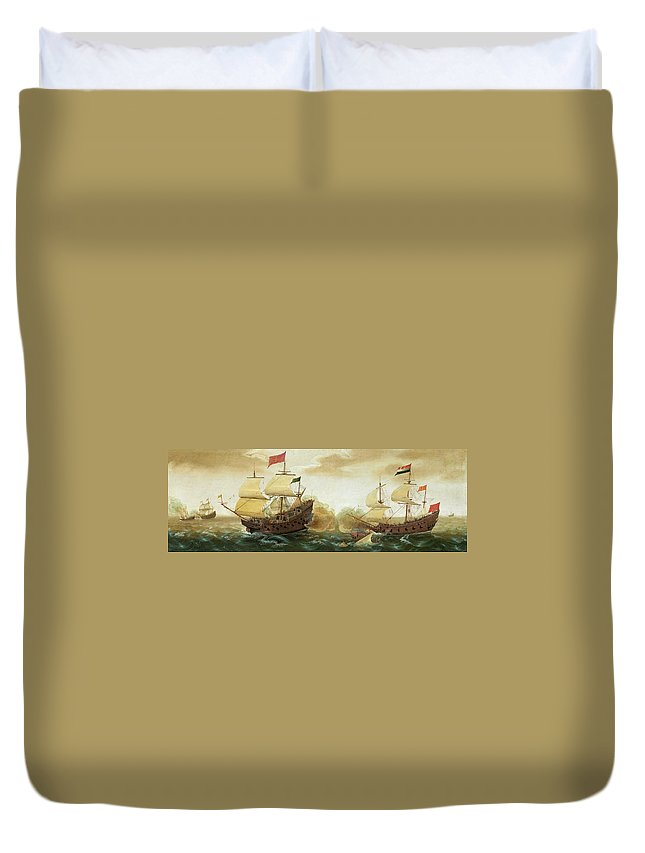 Cornelis Verbeeck Duvet Cover featuring the painting A Naval Encounter Between Dutch And Spanish Warships by Cornelis Verbeeck