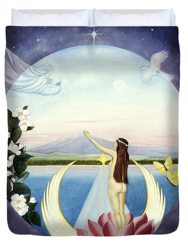 Spiritual Art Duvet Cover featuring the painting A New Life Is Born by Birgitta Thunberg