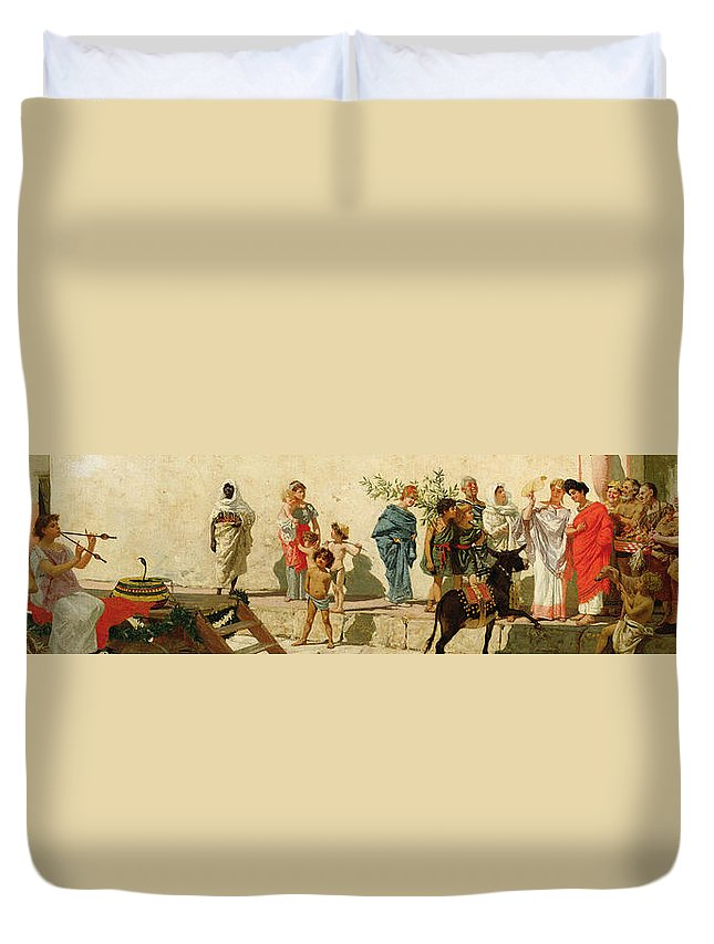 A Roman Street Scene With Musicians And A Performing Monkey Duvet Cover featuring the painting A Roman Street Scene With Musicians And A Performing Monkey by Modesto Faustini