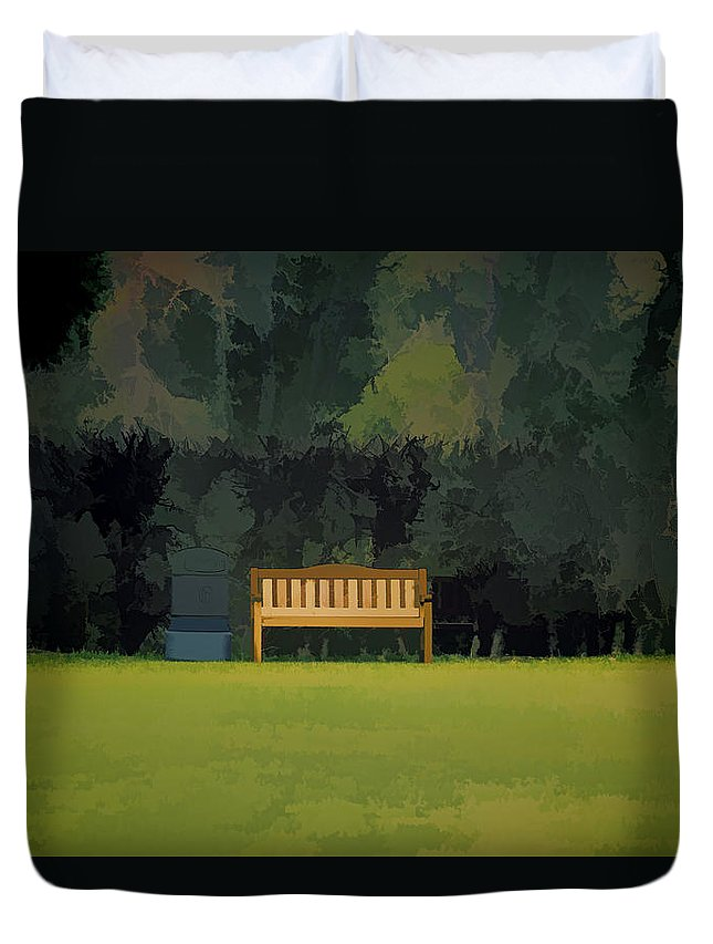 Bench Duvet Cover featuring the photograph A Trash Can And Wooden Benches In A Small Grassy Area by Ashish Agarwal