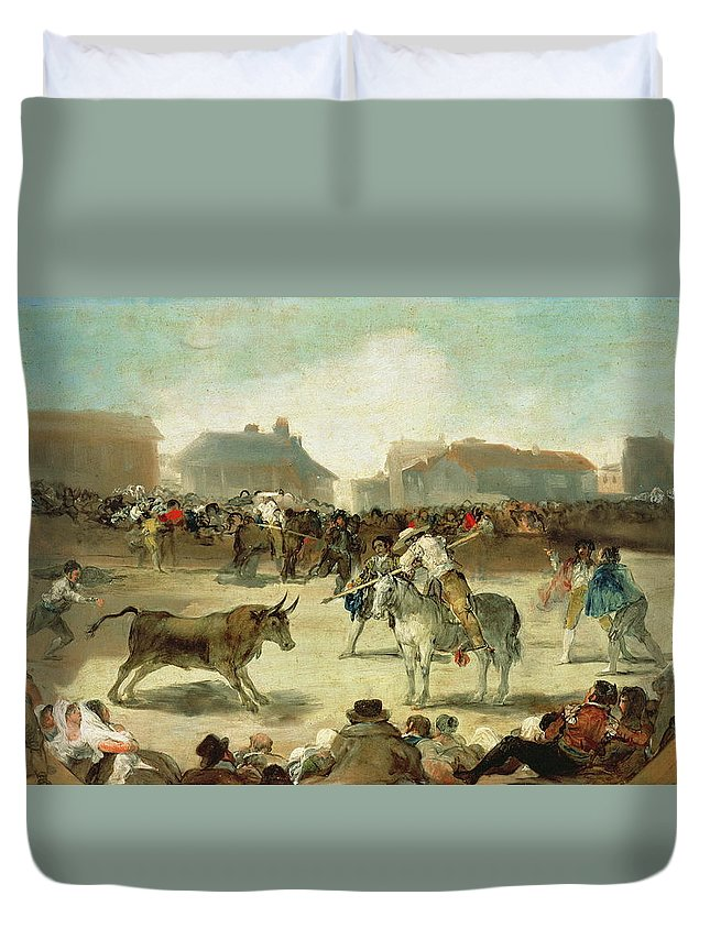 Bullfight Duvet Cover featuring the painting A Village Bullfight by Francisco Goya