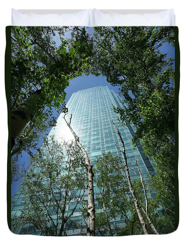 Citi Corp Building Duvet Cover featuring the photograph Above The Tree Tops by Cate Franklyn