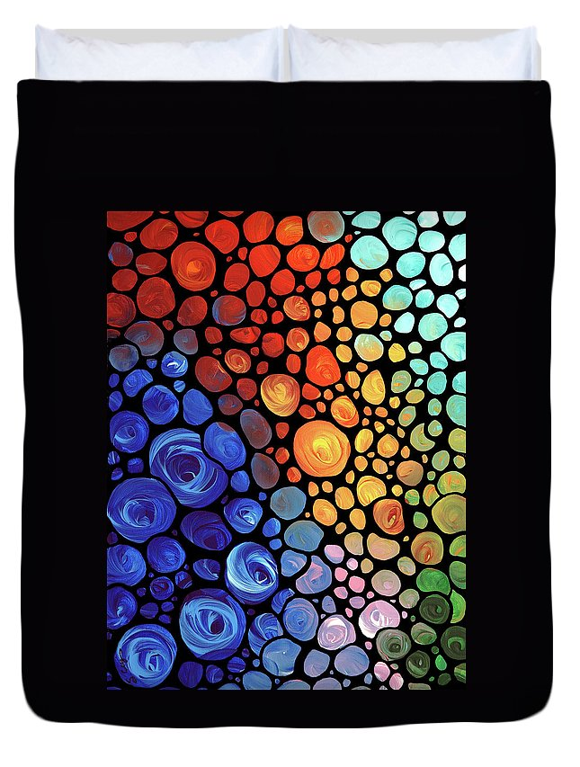 Abstract Duvet Cover featuring the painting Abstract 1 by Sharon Cummings
