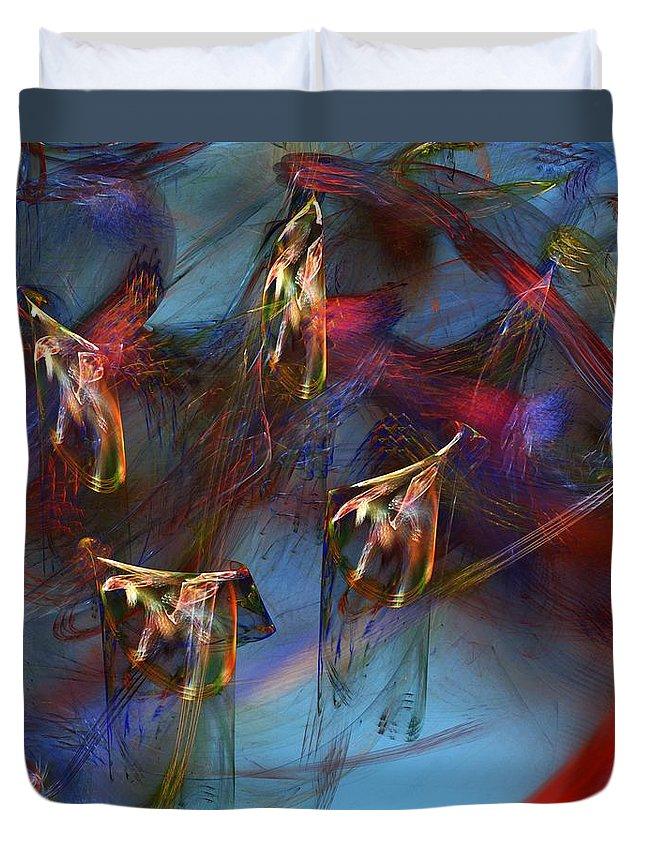 Fine Art Digital Art Duvet Cover featuring the digital art Abstract 102910 by David Lane