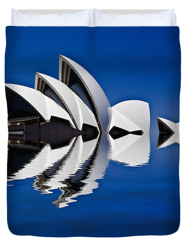 Sydney Opera House Duvet Cover featuring the photograph Abstract of Sydney Opera House by Sheila Smart Fine Art Photography
