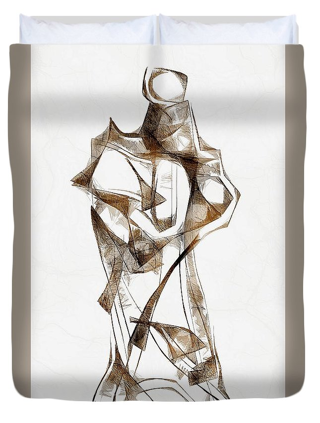 Abstraction Duvet Cover featuring the digital art Abstraction 2924 by Marek Lutek