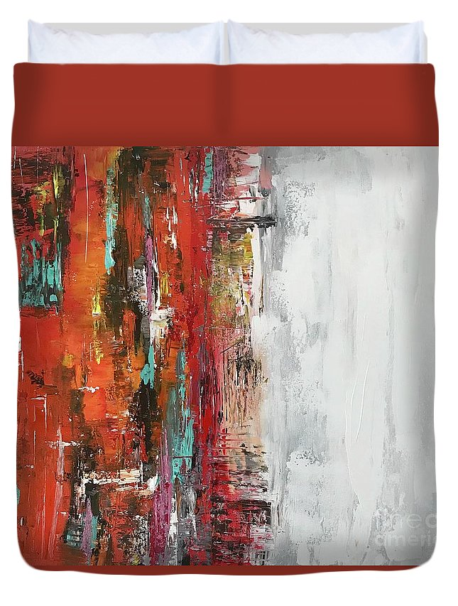 Abstraction Duvet Cover featuring the painting Abstraction by Karina MIKULSKAIA