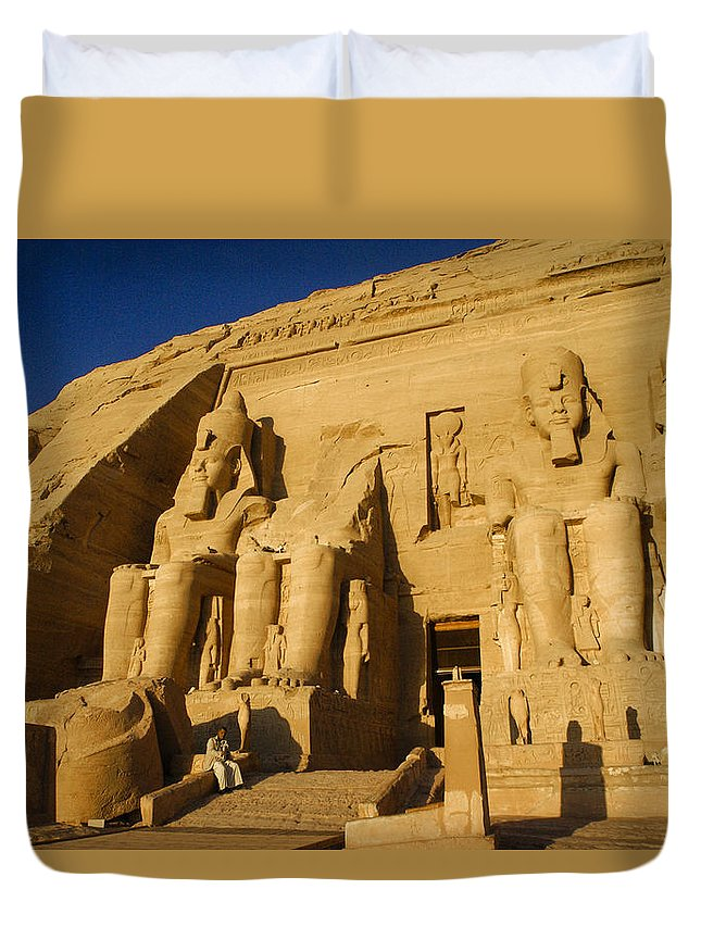 Egypt Duvet Cover featuring the photograph Abu Simbel by Michele Burgess