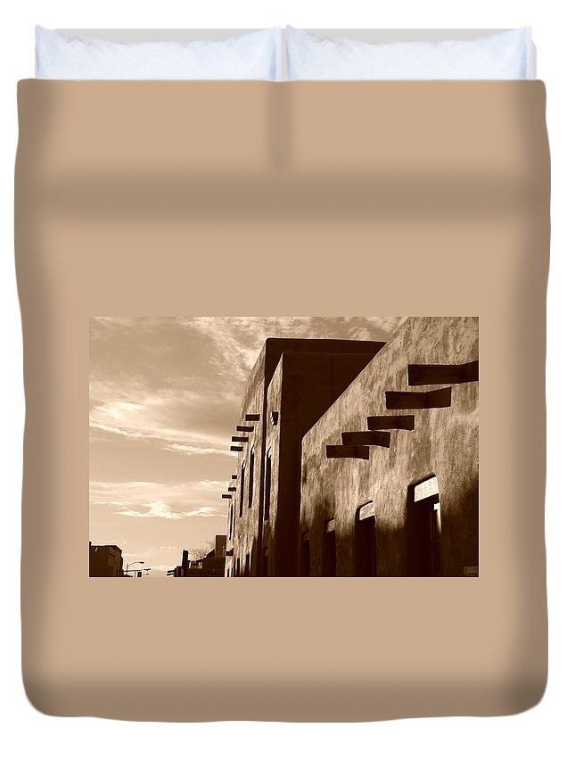 Architecture Duvet Cover featuring the photograph Adobe Sunset by Rob Hans
