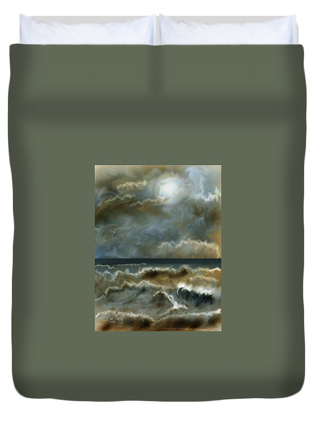 Seascape Duvet Cover featuring the painting After The Squall by Anne Norskog