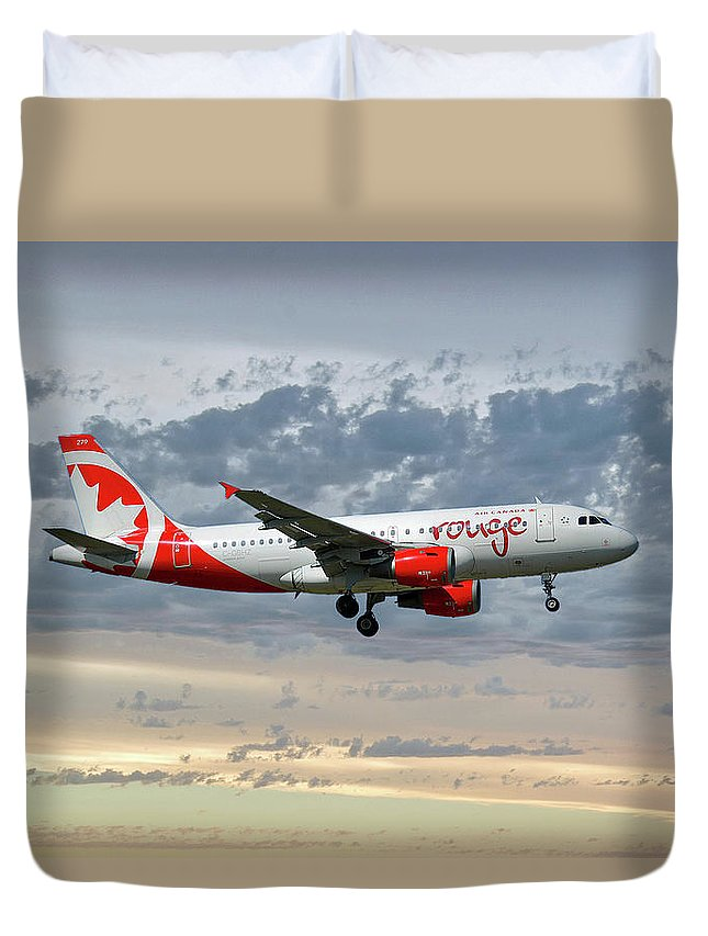 Air Canada Duvet Cover featuring the photograph Air Canada Rouge Airbus A319-114 by Smart Aviation