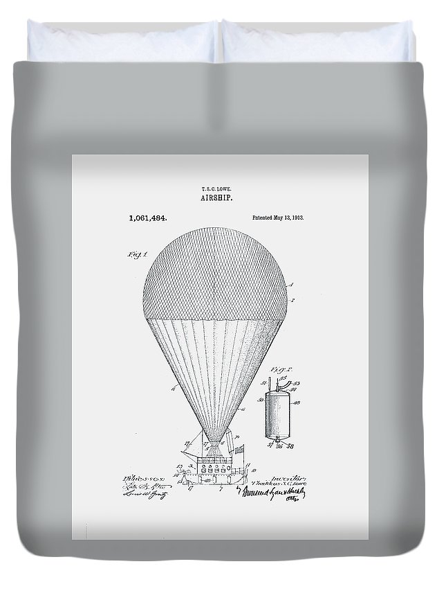 Airship Duvet Cover featuring the photograph Airship Patent 1913 by Claire Doherty