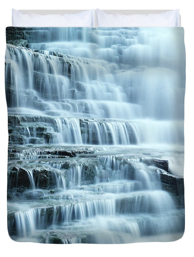 Waterfall Duvet Cover featuring the photograph Albion Falls by Maxim Images Prints