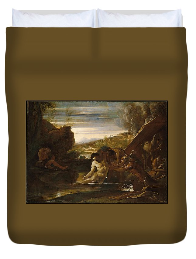 Pietro Testa Alexander The Great Rescued From The River Cydnus Duvet Cover featuring the painting Alexander The Great Rescued From The River Cydnus by Pietro Testa