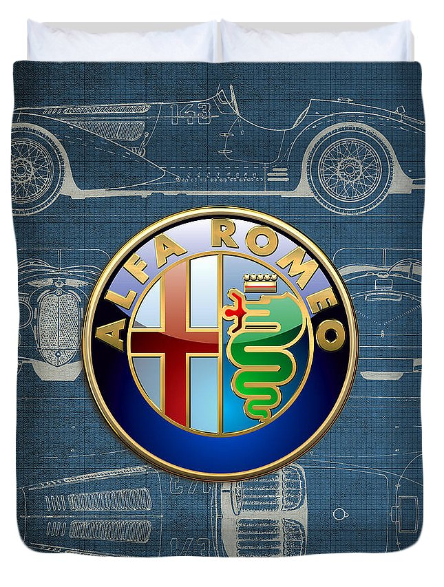�wheels Of Fortune� By Serge Averbukh Duvet Cover featuring the photograph Alfa Romeo 3 D Badge Over 1938 Alfa Romeo 8 C 2900 B Vintage Blueprint by Serge Averbukh