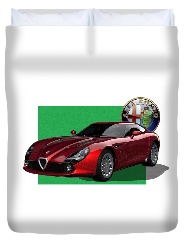 �alfa Romeo� By Serge Averbukh Duvet Cover featuring the photograph Alfa Romeo Zagato T Z 3 Stradale with 3 D Badge by Serge Averbukh