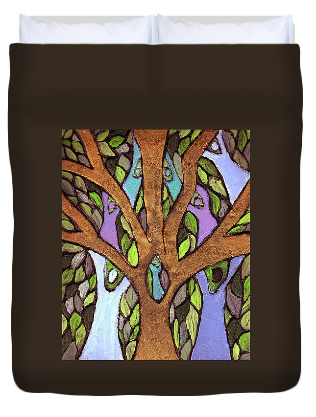 Family Duvet Cover featuring the painting All For One by Wayne Potrafka