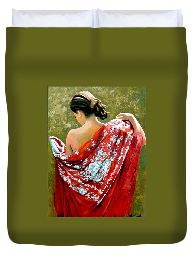 Red Duvet Cover featuring the painting aly by Jose Manuel Abraham