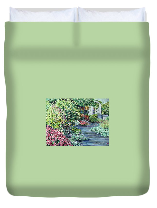 Garden Duvet Cover featuring the painting Amelia Park Pathway by Richard Nowak