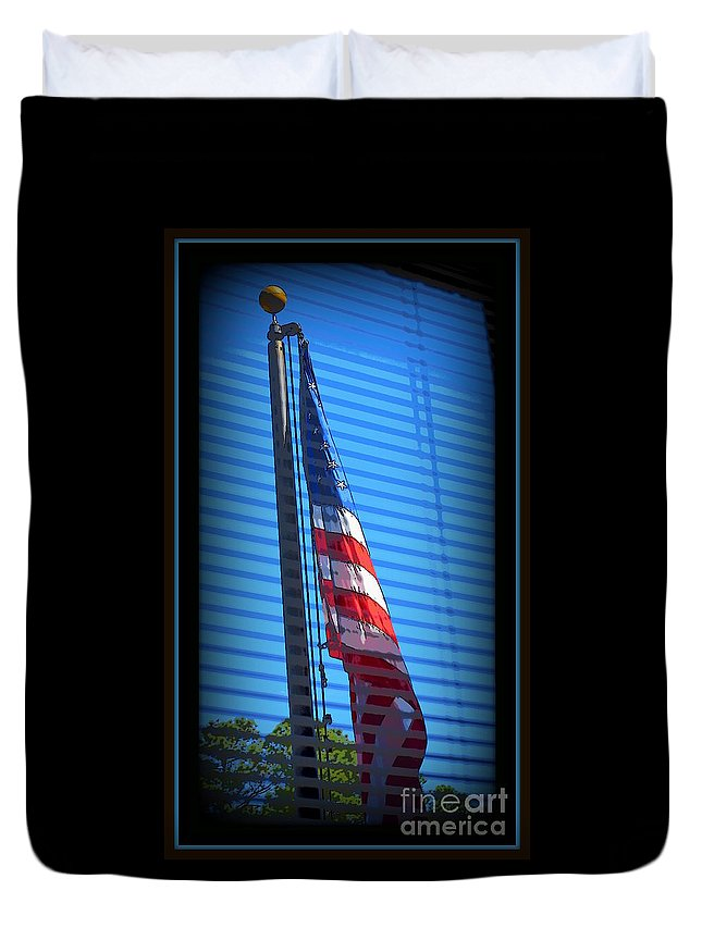 Red Duvet Cover featuring the photograph American Flag by Anita Goel