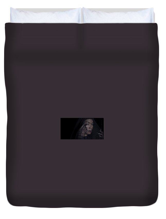 American Horror Story Duvet Cover featuring the digital art American Horror Story by Dorothy Binder