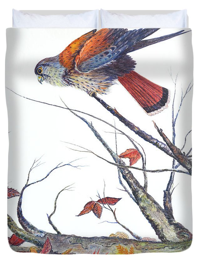 Bird Duvet Cover featuring the painting American Kestrel by Ben Kiger