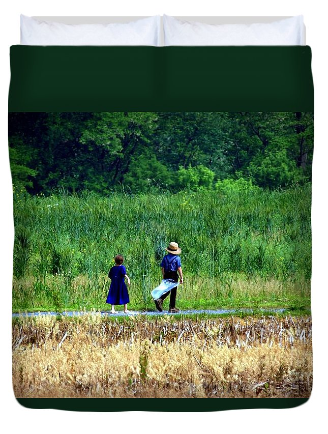 Amish Duvet Cover featuring the photograph Amish Brother And Sister by Randy Matthews