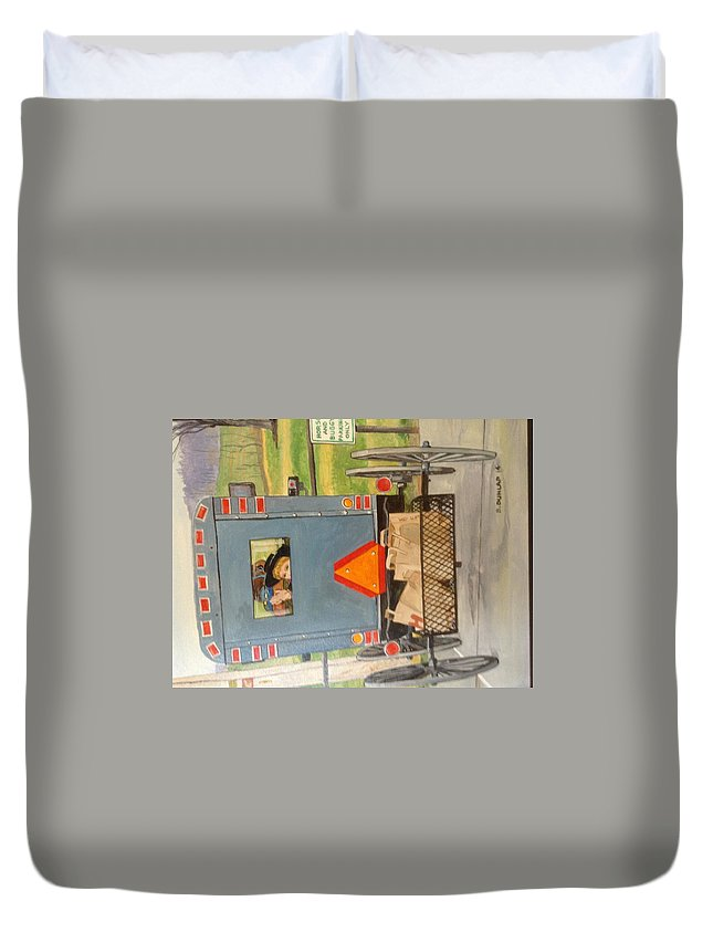 Amish Duvet Cover featuring the painting Amish Parking by Bart Dunlap