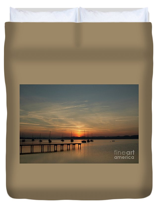 Ammersee Duvet Cover featuring the photograph Ammersee by Smart Aviation