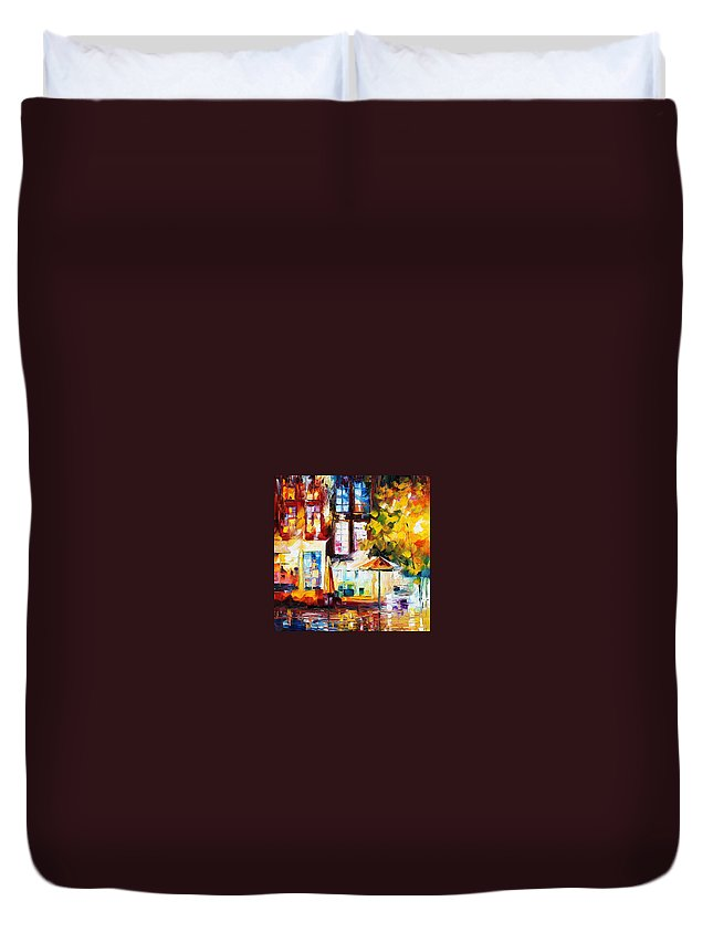 Afremov Duvet Cover featuring the painting Amsterdam by Leonid Afremov