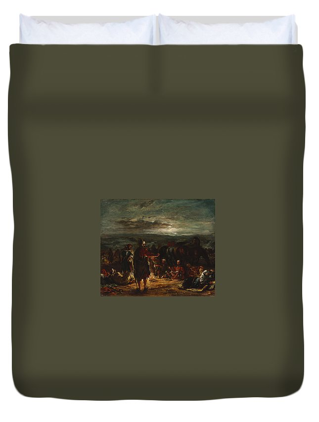 Animal Duvet Cover featuring the painting An Arab Camp At Night by Eugene Delacroix