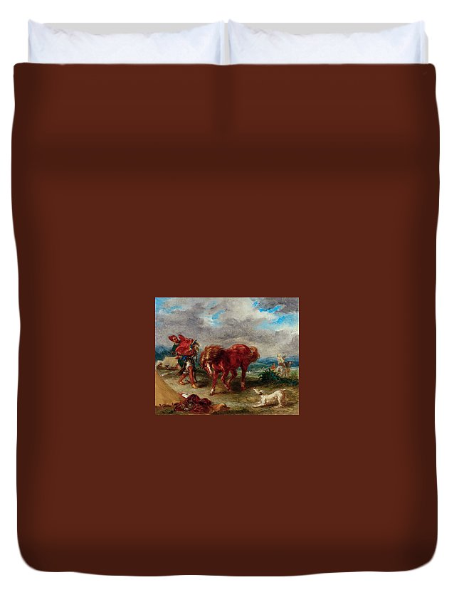 Animal Duvet Cover featuring the painting An Arab Saddling His Horse by Eugene Delacroix