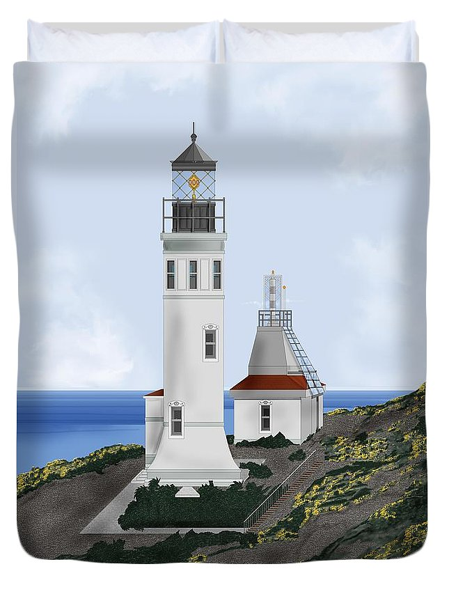 Lighthouse Duvet Cover featuring the painting Anacapa Lighthouse California by Anne Norskog