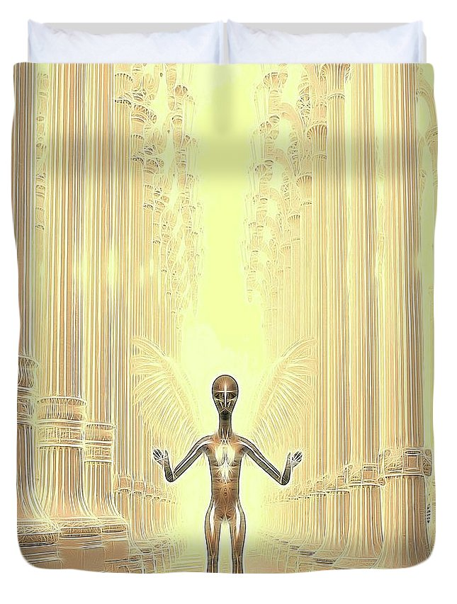 Ufo Duvet Cover featuring the digital art Ancient Alien Angel by Raphael Terra