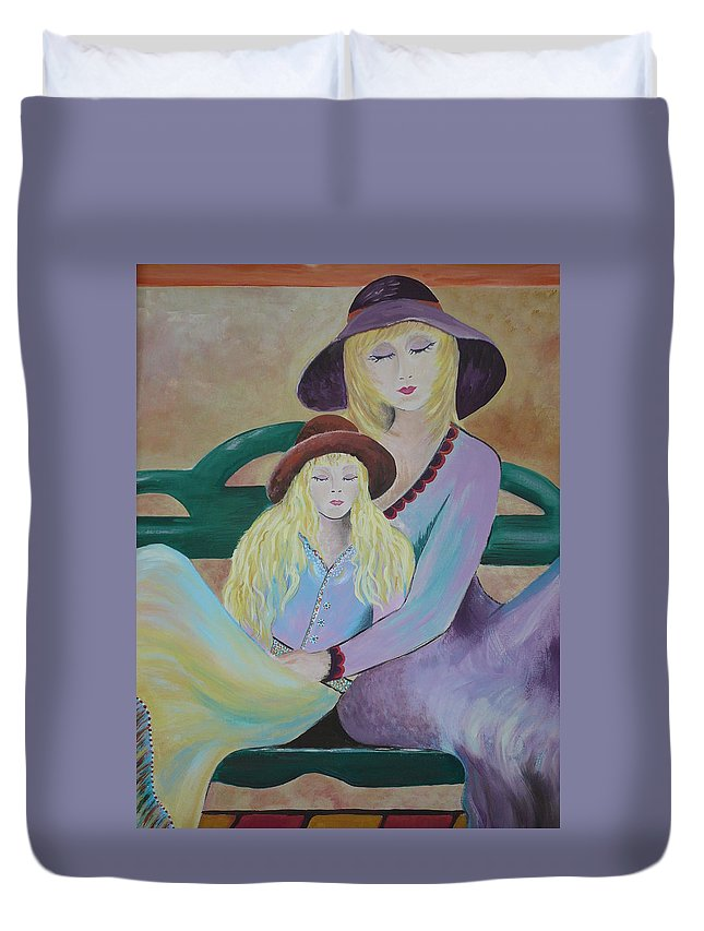 Mother/daughter Duvet Cover featuring the painting Angel Face by Kris Crollard