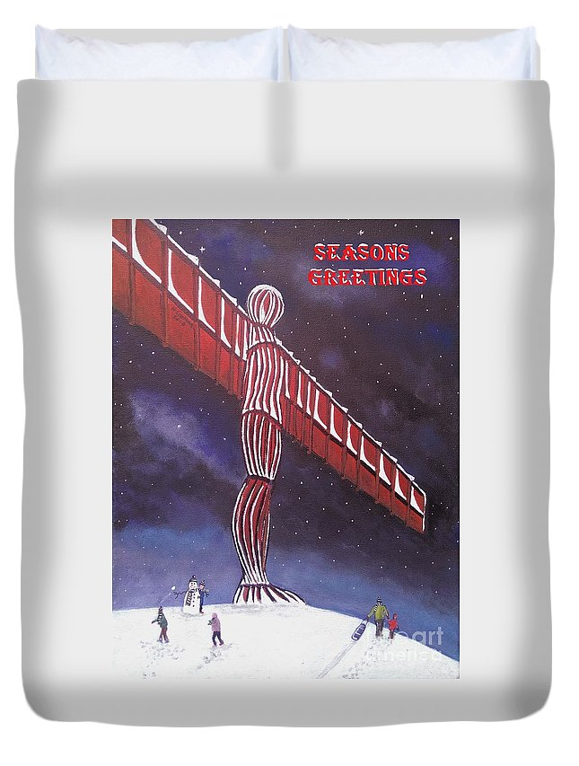 Angel Of The North Duvet Cover featuring the painting Angel Of The North Christmas by Neal Crossan