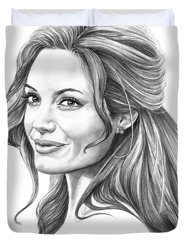 Drawing Duvet Cover featuring the drawing Angelina Jolie by Murphy Elliott