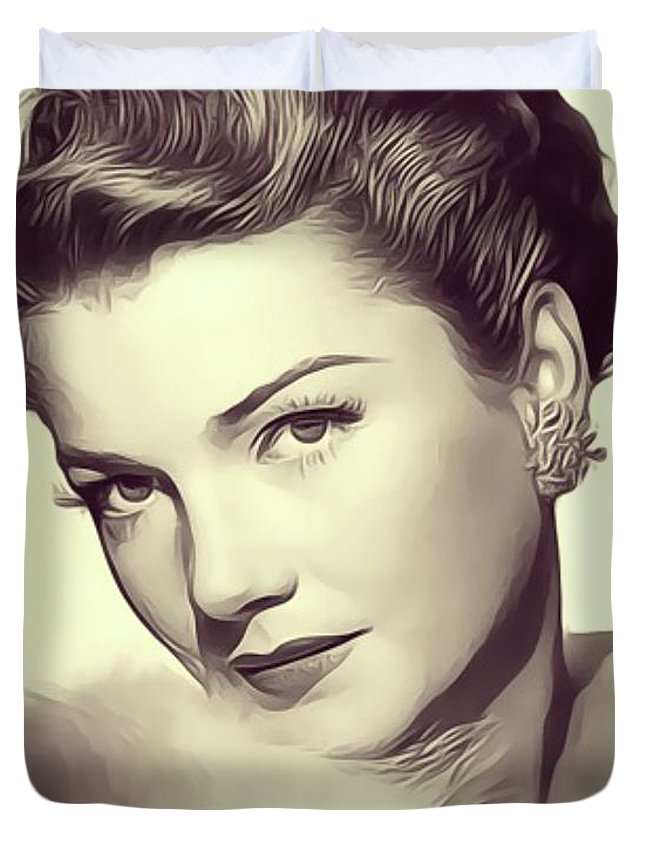 Anne Duvet Cover featuring the digital art Anne Baxter, Vintage Actress by John Springfield