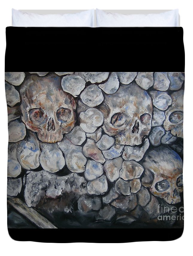 Catacombs Duvet Cover featuring the painting Another Brick In The Wall by Deana Smith